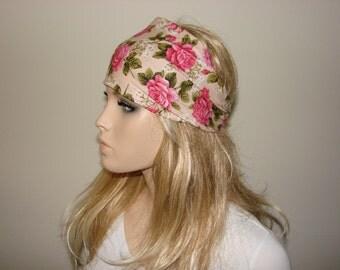 Pink Roses Head Wrap, Floral Head Scarf, Wide Woman Headband, Beige Turban Headband, Yoga Headband, Woman tribal boho bandana headband