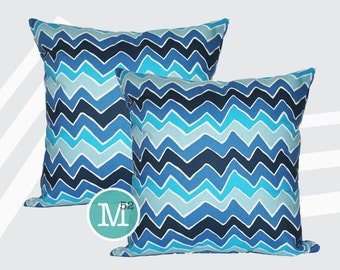 Blue Chevron Seesaw Pillow Covers Shams - 18 x 18, 20 x 20 and More Sizes - Zipper Closure- dc1820