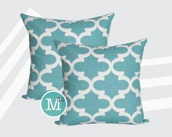 Spirit Blue Moroccan Quatrefoil Lattice Pillow Covers Shams - 18 x 18, 20 x 20 and More Sizes - Zipper Closure- dc1820