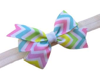 Pastel chevron bow headband- chevron baby headband, chevron newborn headband, baby headband, baby bow headband