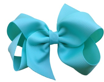 Aqua hair bow - aqua bow, 4 inch hair bow, boutique bow, girls hair bows, toddler bows, girls bows, 4 inch bows, hair bows, bows, baby bows