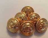 set of 10 golden buttons 6 large 4 small beautiful anker design upcycled from Wool sweater knitting supply sewing supply