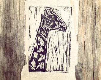 Giraffe Drawing // Back Patch // Punk Patch // Relief Print // Linocut