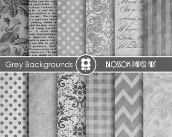 Digital Paper Grey Digital Paper Pack, Scrapbooking, Textures Chevron Damask Dots - INSTANT DOWNLOAD - 1651