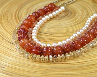 Sophisticated orange carnelian necklace Citrine necklace Multi layer carved semiprecious stone necklace Multi strand necklace Office jewelry