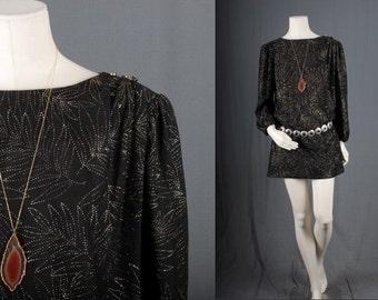 Vintage black dress tunic gold sequins glitter mini women size S small