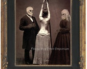 Skeleton Couple Art Print 8 x 10 - Horror Dark Art Bondage - Whipping - Altered Art - Victorian - MATURE -Macabre