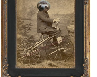 Sloth Bike Art Print 8 x 10 - Victorian Anthropomorphic Altered Art - Sloth Riding Bike - Bicycle - Collage