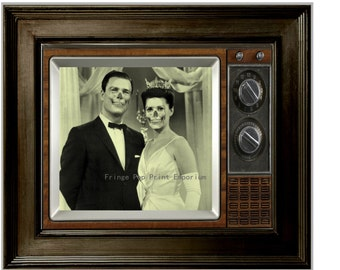 Zombie Couple on TV Art Print 8 x 10 - 1960's Retro Beauty Queen and Handsome Companion Turn Zombie - Zombies on TV - Kitsch Dark Art Horror