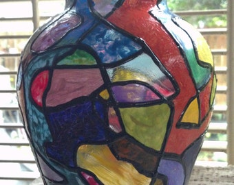 Squiggle Art Faux Stained Glass Hand Painted Vase