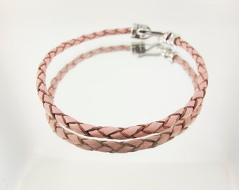 Bolo Braided Leather Bracelet Light Pink  #614