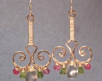 Hammered swirl drop earrings with pink ruby, peridot, green amethyst Nouveau 64
