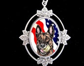 American Flag Malinois Original Art Necklace