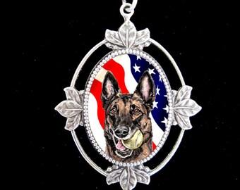American Flag Malinois Original Art Necklace