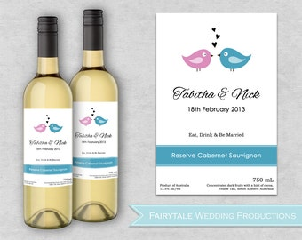 Personalized wedding wine label stickers doves in love set for Avery wine label templates