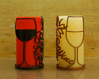 Red & White Wine Glasses and Grapes - 1129 - Metal Candle or Wine Holder
