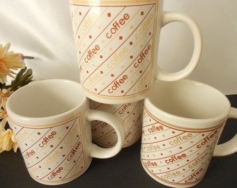 4 Vintage stoneware retro coffee mugs