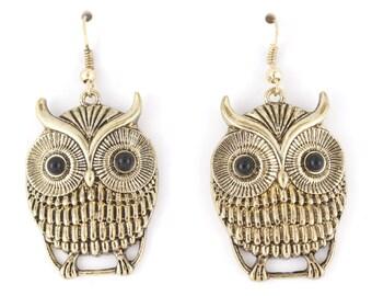 Cute Gold tone Owl Pendant Dangle Drop Earrings,H5