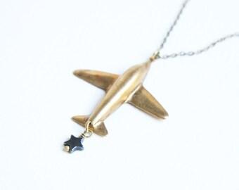 Air Plane Star Pendant Necklace Art Deco Plane Brass Stamping & Hemapatite Star Beads