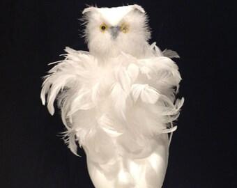 White Fascinator- Diner en Blanc- Bird Fascinator- Owl Fascinator- Harry- Fascinator NYC- Owl headband- Derby- Cocktail hat- Madhatter