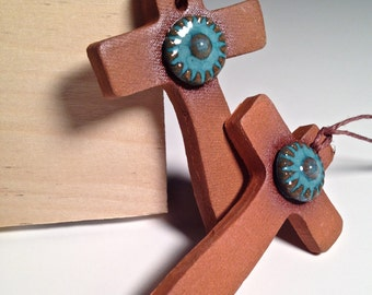 Handcrafted Pottery Cross Ornament Ceramic Christmas Christian Handmade Southwest Terra-cotta Clay Turquoise Arizona Set of Five Collection