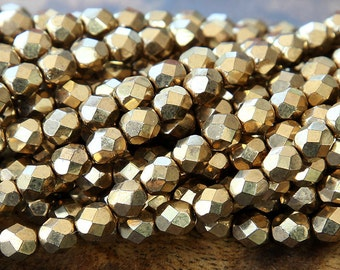 Bronze Metallic Czech Glass Beads, 6mm Faceted Round - 50 pcs - e90215-6