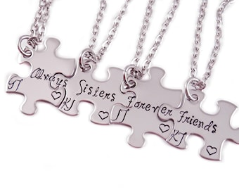 Personalized Always Sisters Forever Friends Puzzle Piece Necklace Set of 4- Engraved Stainless steel - Sister Jewelry - Sister Necklaces