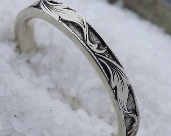 Silver Hand Engraved Custom Leaves on Sterling Silver Ring