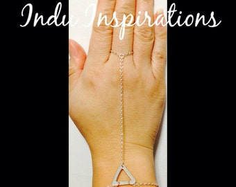 Sterling silver geometric hand jewelry hand chain