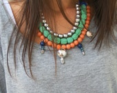 Multi layer Beaded statement necklace in mint green/native/boho.Skull details.