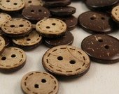 6 pcs 0.43~0.98 inch Brown 2 Hole Manual Natural Coconut Shell Buttons for Kids Shirts