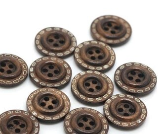 6 pcs 0.71 inch Brown Dotted line 4 Hole Wood Shell Buttons for Sweaters