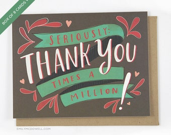 Box Set of 8 Cards Thank You Times a Million by Emily McDowell