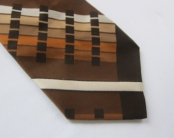 WIDE vintage TIE, 1970s brown tie , NOS vintage tie, 70s disco tie, men's vintage fashion ,  wide boy tie, Fellini , brown wide tie