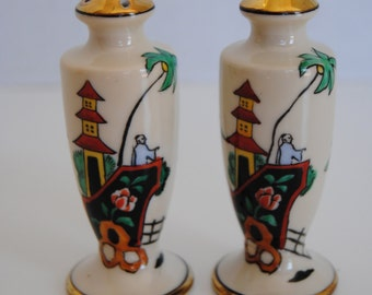 Beautifully Decorated Noritake China Gold Trimmed Salt and Pepper Set