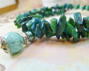 Sea Green Beaded Memory Wire Bracelet