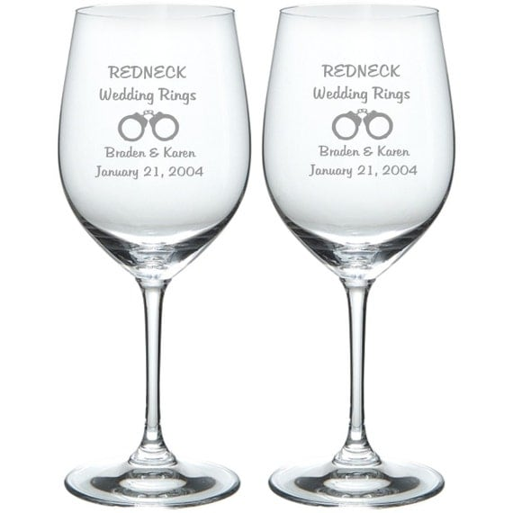 Redneck Wedding Rings: Etched Redneck Wedding Rings With Bride And Groom Names And