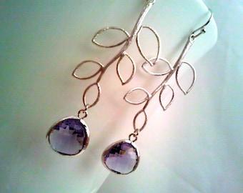 Purple Earrings, Leaf earrings, Amethyst earrings, Birthstone ,Drop, Dangle, Wedding earrngs,Bridal Jewelry,bridesmaid gifts, Christmas GIft