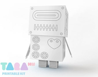 DIY Printable Cutout Robot, DIY Paper Toy to Paint, Printable Robot, Blank Robot, Instant Download Robot, Educational Toy, Didactic Toy