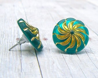 Frosted  Teal Green - vintage glass button post earrings