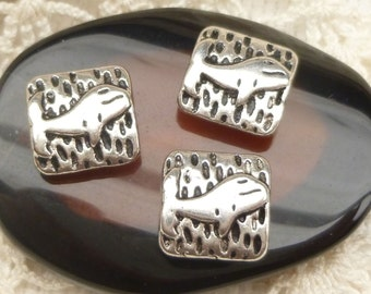 Whimsical, Square Whale Spacer Beads,  Antique Silver (6) - SF88