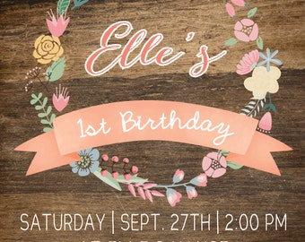 Floral and Polka dot Party Invitation 5x7