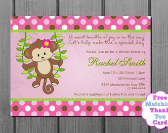 Pink Brown Polka Dot Girl Monkey Baby Shower Invitation and FREE Thank you Card Printable DIY
