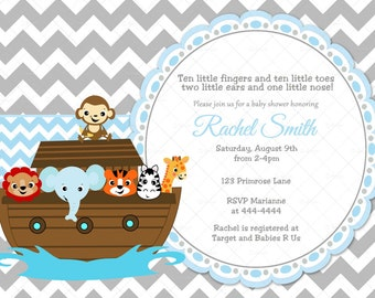 Blue and Grey Chevron Noah's Ark Boy Baby Shower Invitation and FREE Thank You Card Printable DIY