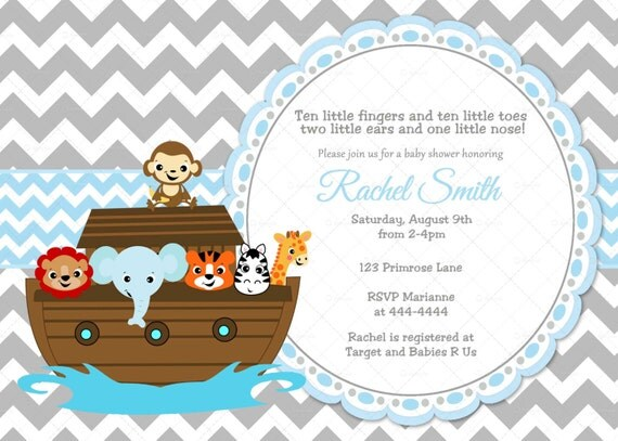 Blue and Grey Chevron Noah's Ark Boy Baby Shower