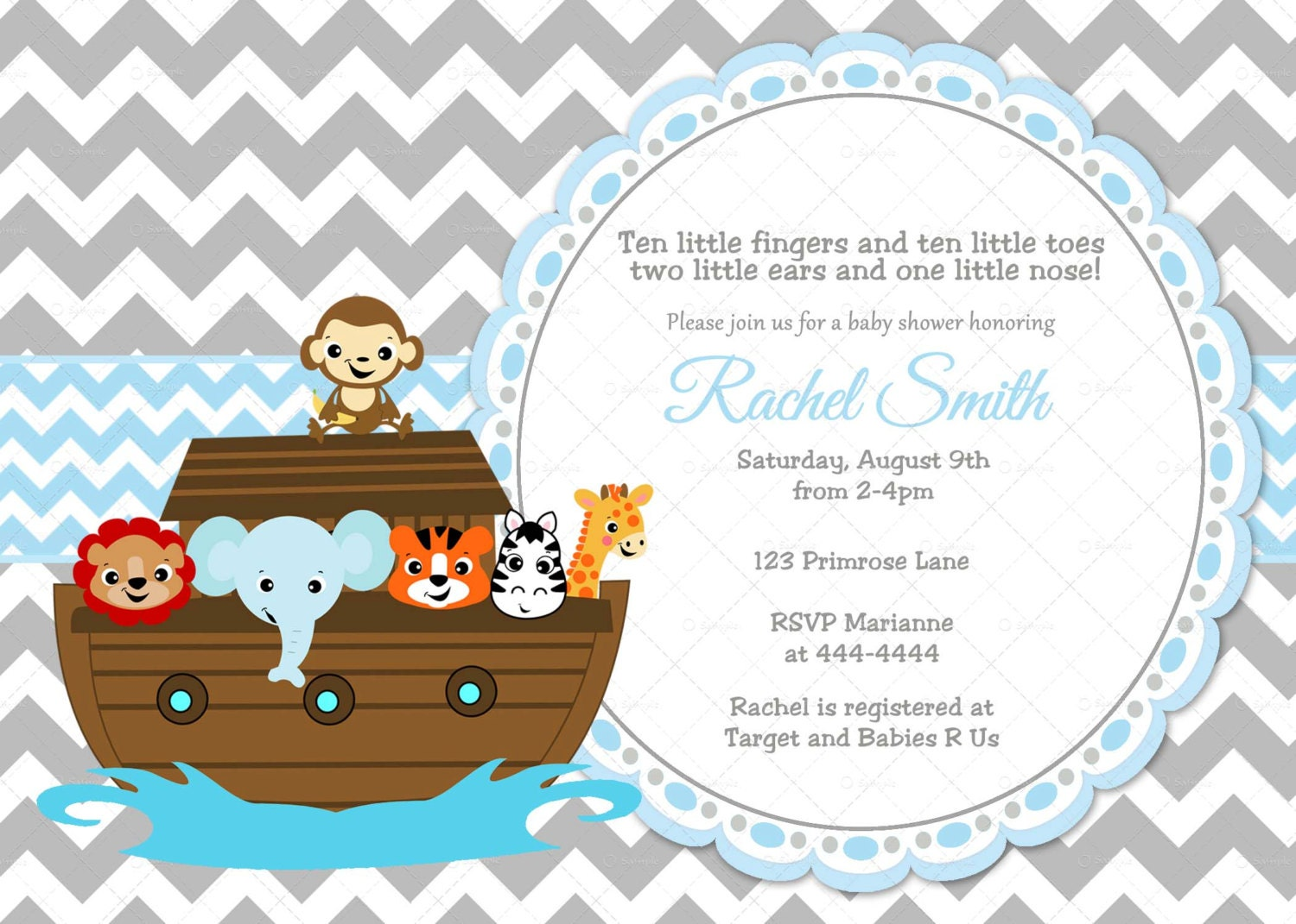 Noahs Ark Baby Shower Invitations is luxury invitation example