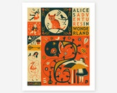 ALICE IN WONDERLAND, Poster, Giclee Fine Art Print,  Surreal Wall Art for the Home Decor