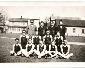Old Photo Basketball Team 1930s Photograph Snapshot vintage