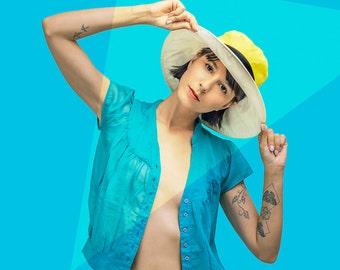 Womens Summer Hats , Wide Brim Cotton Hat  , Womens Hat , Sun Hat , Cotton Hat