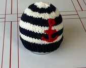 Sailor baby- anchor hat- knit baby photo prop hat- ready to ship